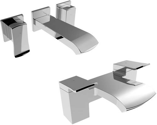 Additional image for 3 Hole Wall Mounted Basin & Bath Shower Mixer Tap Pack.