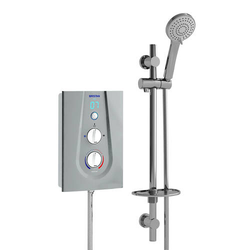Additional image for Thermostatic Electric Shower With Digital Display 9.5kW (Silver).