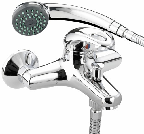 Additional image for Wall Mounted Bath Shower Mixer Tap & Shower Kit (Chrome).