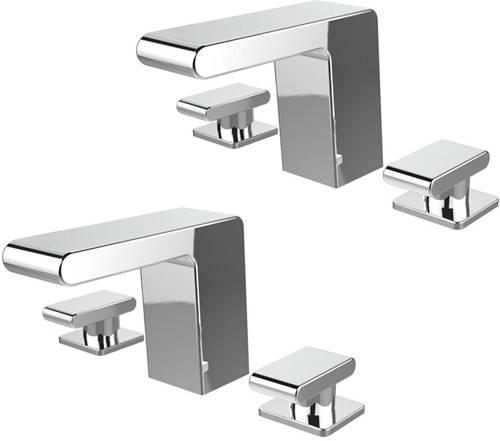 Additional image for 3 Hole Basin & Bath Filler Taps Pack (Chrome).