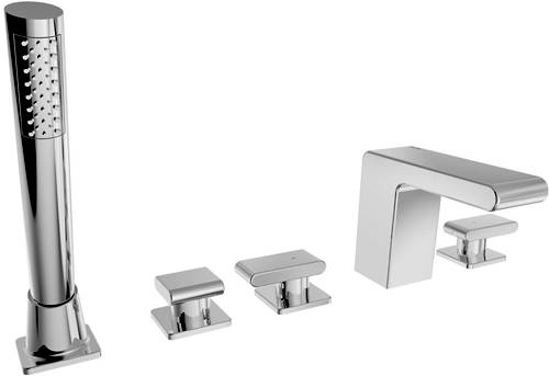 Additional image for Basin & 5 Hole Bath Shower Mixer Taps Pack (Chrome).