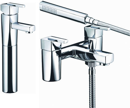 Additional image for Tall Basin & Bath Shower Mixer Taps Pack (Chrome).