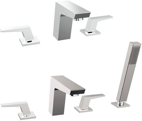 Additional image for 3 Hole Basin & 4 Hole Bath Shower Mixer Tap Pack (Chrome).