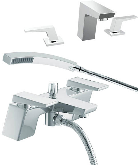 Additional image for 3 Hole Basin & Bath Shower Mixer Tap Pack (Chrome).
