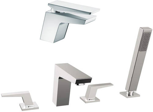 Additional image for Mono Basin & 4 Hole Bath Shower Mixer Tap Pack (Chrome).