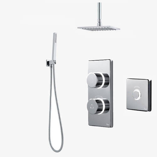 Additional image for Twin Digital Shower Pack, Square Head, Remote & Kit (HP).
