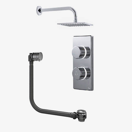 "Additional image for Twin Digital Shower Pack, Bath Filler & 8"" Square Head (HP)."