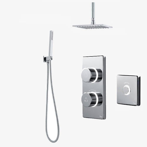 Additional image for Twin Digital Shower Pack, Square Head, Remote & Kit (LP).