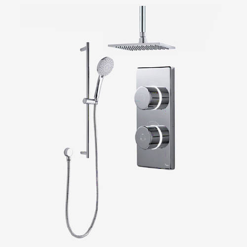 "Additional image for Twin Digital Shower Pack, Slide Rail & 8"" Square Head (LP)."