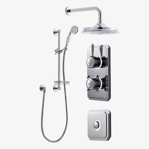 "Additional image for Twin Digital Shower Pack, Slide Rail, 9"" Head & Remote (HP)."