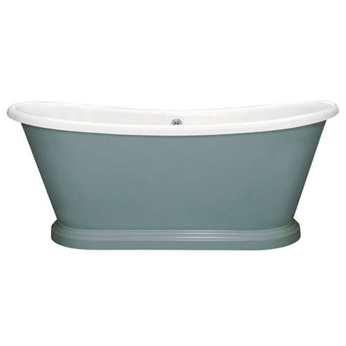 Additional image for Painted Acrylic Boat Bath 1580mm (White & Oval Room Blue).