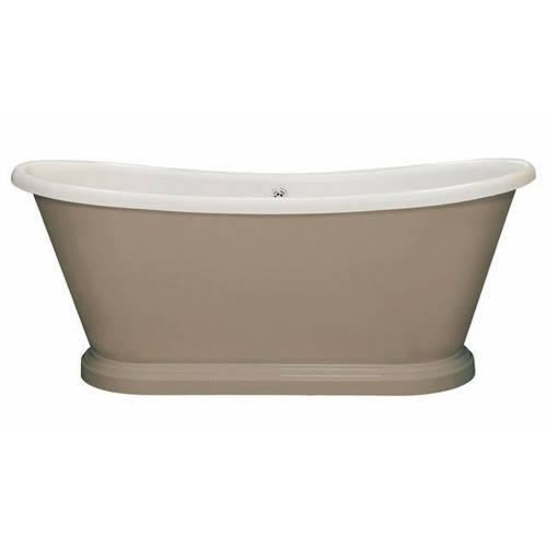 Additional image for Painted Acrylic Boat Bath 1700mm (White & Charleston Grey).