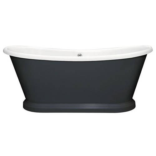 Additional image for Painted Acrylic Boat Bath 1700mm (White & Off Black).