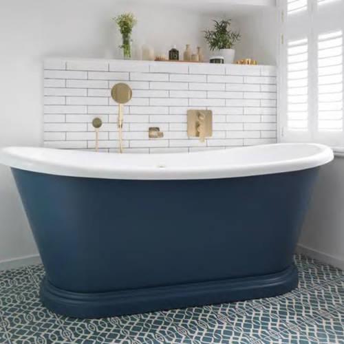 Additional image for Painted Acrylic Boat Bath 1800mm (White & Stiffkey Blue).