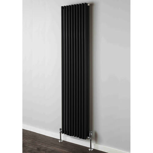 Additional image for Chaucer Double Vertical Radiator 1820x504mm (Jet Black).