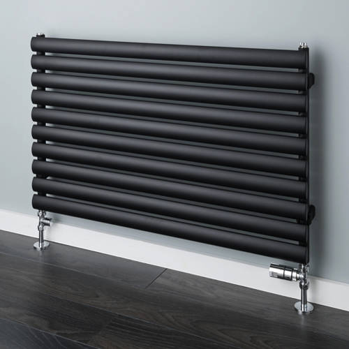 Additional image for Tallis Horizontal Radiator 480x1220mm (Jet Black, 2163 BTUs).