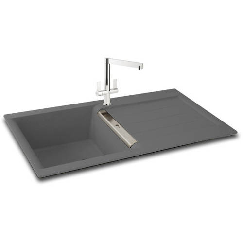 Additional image for Java 100 Single Bowl Granite Sink 1000x510mm (Graphite).