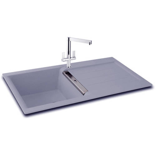 Additional image for Java 100 Single Bowl Granite Sink 1000x510mm (Stone Grey).
