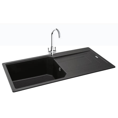Additional image for Aruba Single Bowl Granite Sink 1000x500mm (Jet Black).