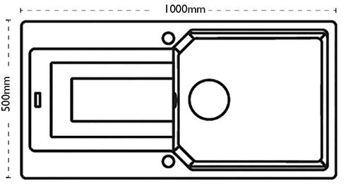 Additional image for Aruba Single Bowl Granite Sink 1000x500mm (Polar White).