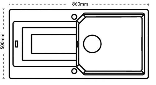 Additional image for Aruba Single Bowl Granite Sink 860x500mm (Jet Black).