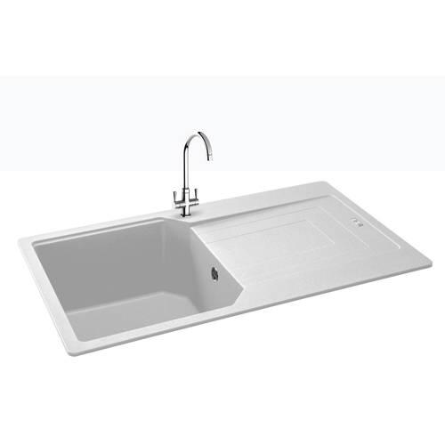 Additional image for Aruba Single Bowl Granite Sink 860x500mm (Polar White).