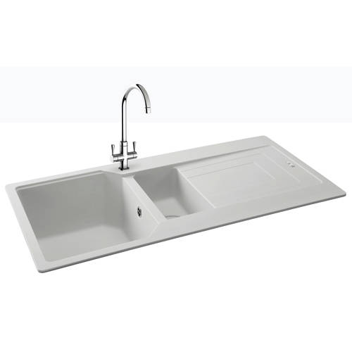 Additional image for Aruba Double Bowl Granite Sink 1000x500mm (Polar White).