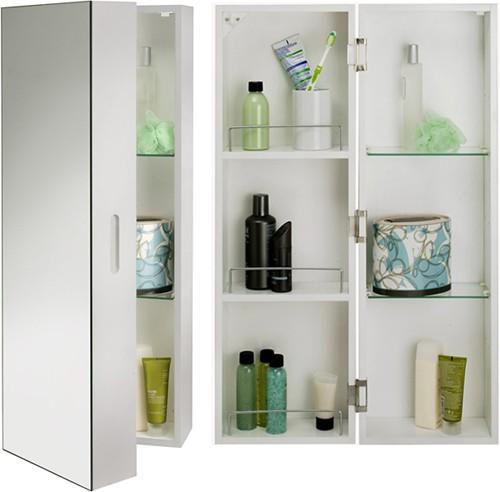 tall bathroom cabinet with mirror 250x800x210mm croydex