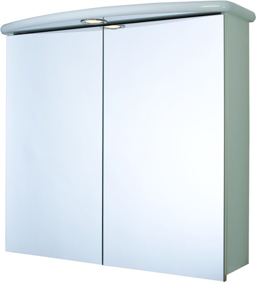 Additional image for 2 Door Bathroom Cabinet, Light & Shaver.  700x640x250mm.