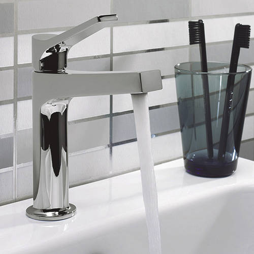 Additional image for Acute Basin Mixer Tap With Lever Handle (Chrome).