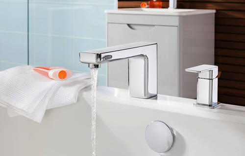 Additional image for Wall Mounted Basin & 2 Hole BSM Tap Pack (Chrome).
