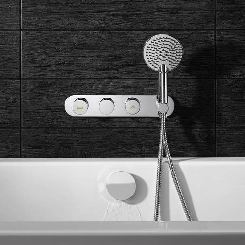 Additional image for Central Thermostatic Shower & Bath Valve, Handset & Filler.