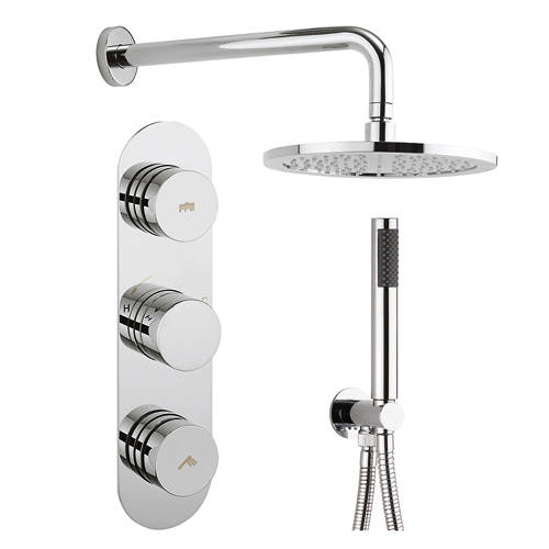 Additional image for Central Thermostatic Shower Valve With Head, Arm & Handset.