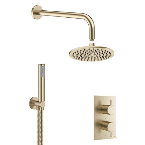 Additional image for 2 Outlet 2 Handle Shower Bundle (Brushed Brass).