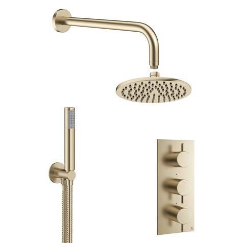 Additional image for 2 Outlet 3 Handle Shower Bundle (Brushed Brass).