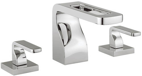 Additional image for 3 Hole Basin Mixer Tap With Lever Handles (Chrome).