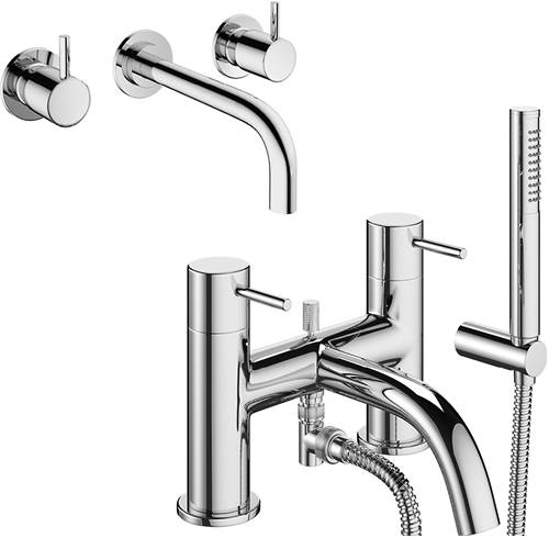 Additional image for Wall Mounted Basin & Bath Shower Mixer Tap (Chrome).