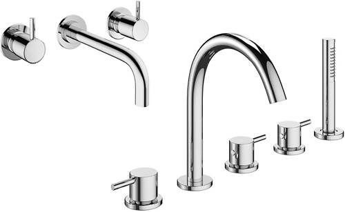 Additional image for Wall Mounted Basin & 5 Hole BSM Tap Pack & Kit.