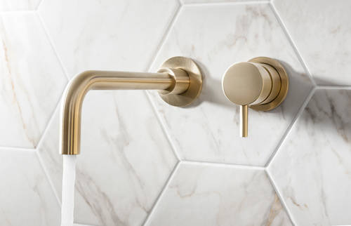 Additional image for Wall Mounted Basin Mixer Tap (2 Hole, Brushed Brass).