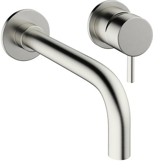 Additional image for Wall Mounted Basin Mixer Tap (2 Hole, Brushed Steel).