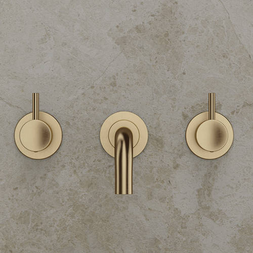 Additional image for Wall Mounted Basin Mixer Tap (3 Hole, Brushed Brass).