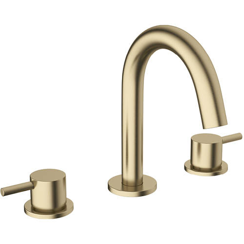Additional image for Basin Mixer Tap (3 Hole, Brushed Brass).