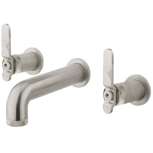 Additional image for Three Hole Wall Mounted Basin Mixer Tap (Brushed Nickel).