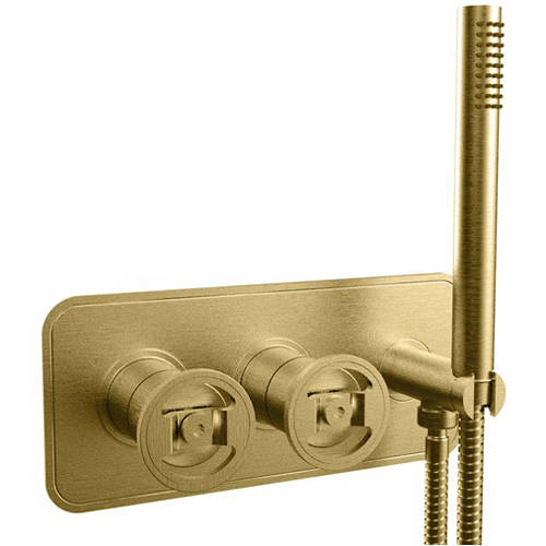 Additional image for Shower Valve With Handset (2-Way, Brushed Brass).