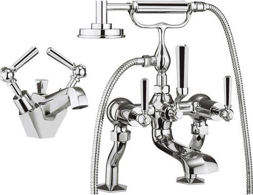 Additional image for Basin & Bath Shower Mixer Tap Pack (Chrome Handles).