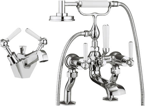 Additional image for Basin & Bath Shower Mixer Tap Pack (White Handles).