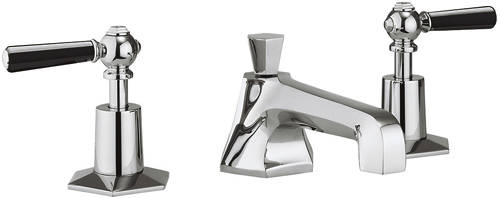 Additional image for 3 Hole Basin Mixer & Bath Filler Taps (Black Handles).