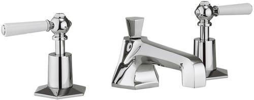 Additional image for 3 Hole Basin Mixer & Bath Filler Taps (White Handles).
