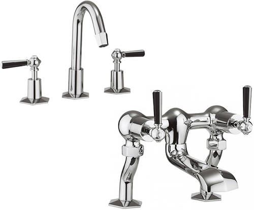 Additional image for 3 Hole Basin Mixer & Bath Filler Tap (Black Handles).