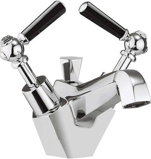 Additional image for Basin Mixer Tap With Black Lever Handles.